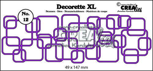 Crealies Decorette XL no. 12 in elkaar grijpende vierkanten 49x147 mm