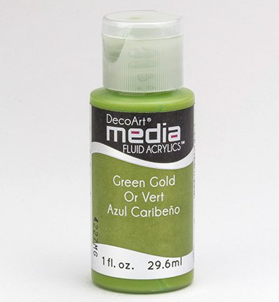 Mixed Media Acrylics Green Gold