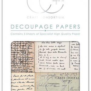 Craft Consortium Vintage Postcard Script Decoupage Papers (CCDECP230)