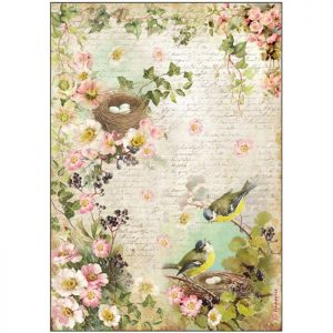 Stamperia Rice Paper A4 Brids with Nest