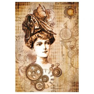Stamperia Rice Paper A4 Steampunk woman with hat