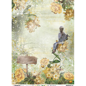 JMA-NA-RICE03 - JMA Rice paper Figure w. flute, flowers, sign New Awakening nr.03