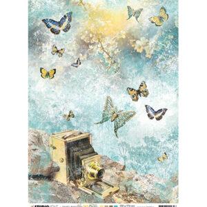 JMA-NA-RICE04 - JMA Rice paper Vintage camera, butterflies New Awakening nr.04