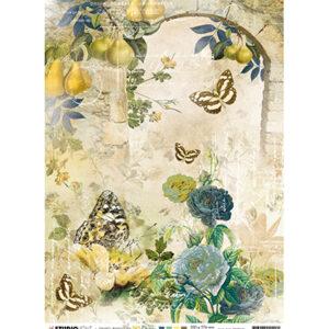 JMA-NA-RICE12 - JMA Rice paper Arch w. roses & Butterflies New Awakening nr.12