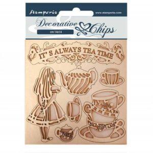Stamperia Decorative Chips Alice Tea Time (SCB49)