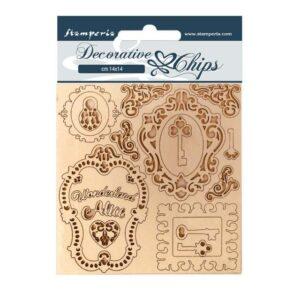 Stamperia Decorative Chips Alice Keys and Frames (SCB75)